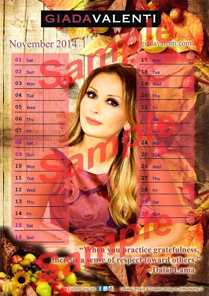 Calendrier novembre sampler 2014