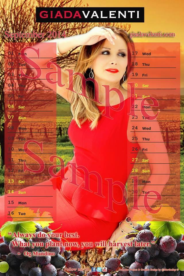 Calendrier septembre sampler 2014