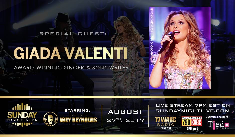 Giada invitee par joey reynolds au radio show sunday night live 27 08 2017